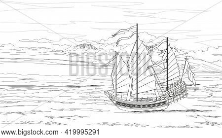 Coloring Page Landscape With Traditional Asian Chinese Junk Ship Made Of Wood With Red And Orange Sa