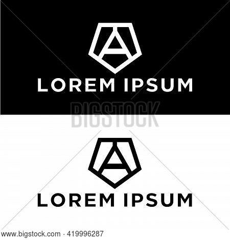 Creative, Simple And Elegant Initial Letter A Reverse Pentagon Logo Template In Flat Design Monogram