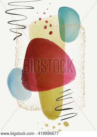 Poster, Transparent Texture Watercolor, Brushes And Gold Dots Frame, Calligraphic Strokes, Splashes,