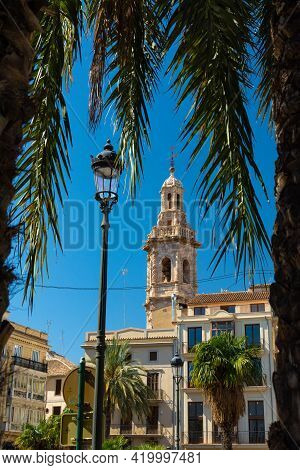Valencia, Spain, March 14, 2021: Belltower Of The Temple Of The Martyr Santa Catalina, Saint Catheri