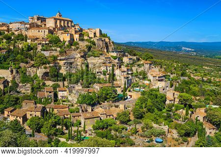 Majestic Medieval French Village Near Avignon. Popular Touristic Village With Traditional Old Rustic