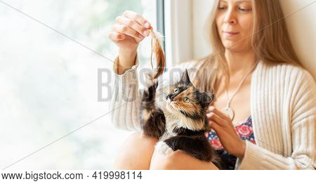 Young Girl Sitting By Window Playing By Feather With Her Three-color Long-hair Young Cat. Selective
