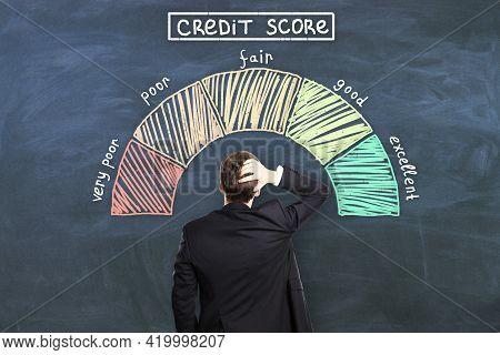 Credit Score Concept With Pensive Man Back In Front Of Chalkboard With Credit Score Levels