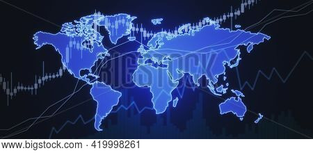 Global Trading And Investing Concept With Digital Growing Candlestick On Bright Blue World Map Schem