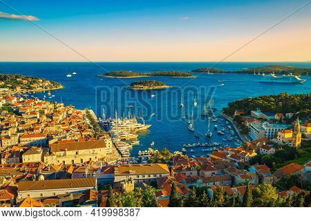 Admirable View From The Hill With Spectacular Cityscape And Fantastic Harbor At Sunset, Hvar, Dalmat
