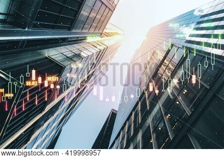 Real Estate Investing Concept With Digital Stock Market Candlestick On Business Skyscrapers Backgrou