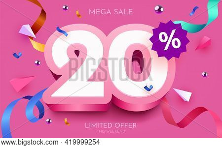 20 Percent Off. Discount Creative Composition. 3d Mega Sale Symbol With Decorative Objects. Sale Ban