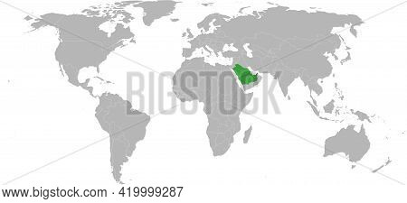 United Arab Emirates, Saudi Arabia Highlighted Green On World Map. Persian Gulf Map Backgrounds.