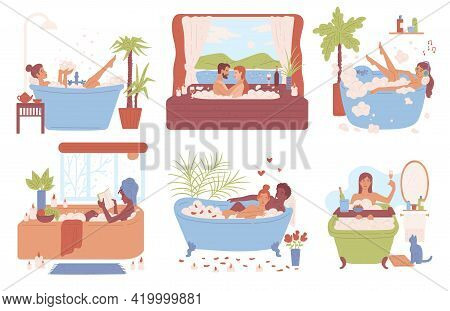 Women Relaxing And Bathing Alone And With Man, Flat Vector Illustration Isolated.