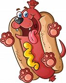 An energetic hot dog puppy cartoon character with a big sloppy tongue and wagging tail. poster