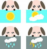 Paper weather icon dog sun cloud rain and lighting concept illustration poster