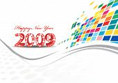 2009 wave line element for design - New Year background poster