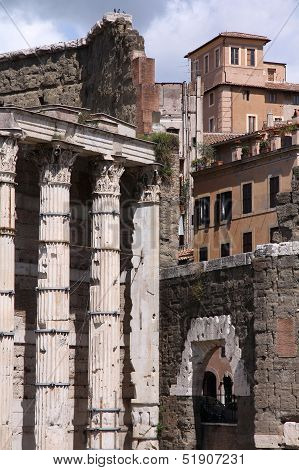 Rome Italy. Ancient Roman ruins in Foro Traiano (Trajan's Forum). poster