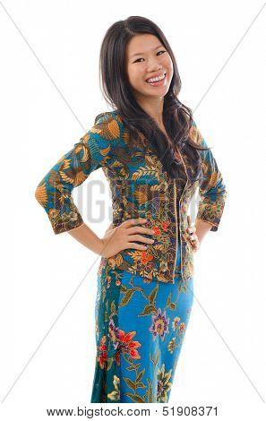Asian woman in Kebaya, kebaya usually worn by women in Indonesia, Malaysia, Brunei, Burma, Singapore, southern Thailand.