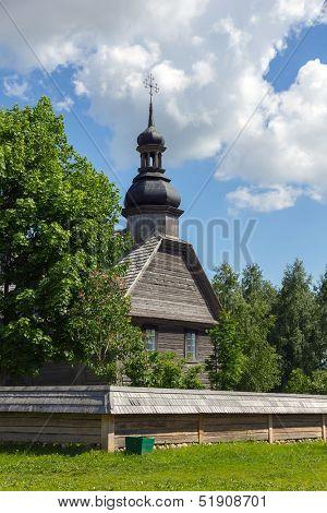 Old wooden church in museum near Minsk, Belarus.