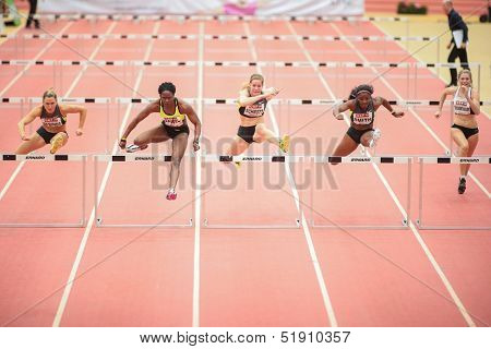 LINZ, AUSTRIA - JANUARY 31 Yvette Lewis (#157 USA) wins the women's 60m hurdles event on January 31, 2013 in Linz, Austria.