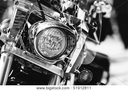 motorcycle headlight in closeup