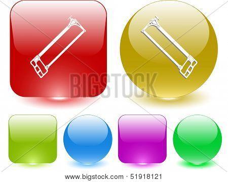 Hacksaw. Interface element. Raster illustration.