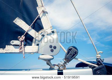Ropes On Mast, Sailing Boat, Close Up
