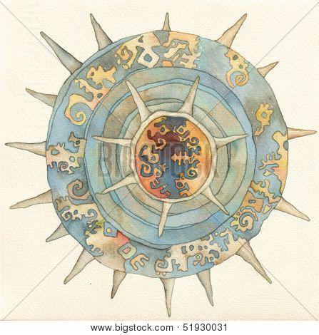 Lighea - sea-urchin, watercolor
