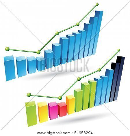 illustration of colorful 3d stat bar graphs poster