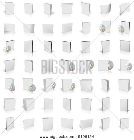 3d render of DVD boxes on white background poster
