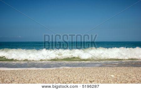 Powerful Waves Crashing On Beach Low Angle