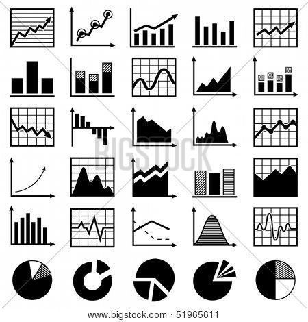 Set of diagrams and graphs vector