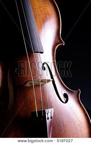 Violin Viola Isolated On Black