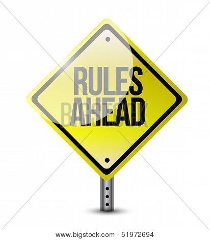 Rules Ahead Road Sign Illustration Design