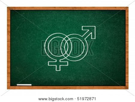 Male and female sex symbol on green chalkboard with wooden frame. poster