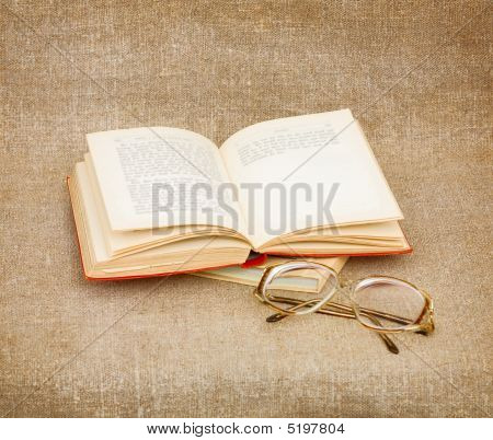 Still-life From Eyeglasses And Book
