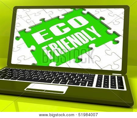 Eco Friendly Laptop Shows Green And Environmentally Efficient