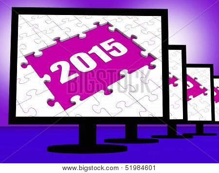 Two Thousand And Fifteen On Monitors Shows Year 2015 Resolution