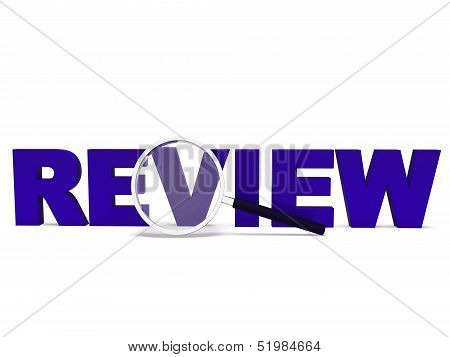 Review Word Shows Reviewing Evaluating Evaluate And Reviews