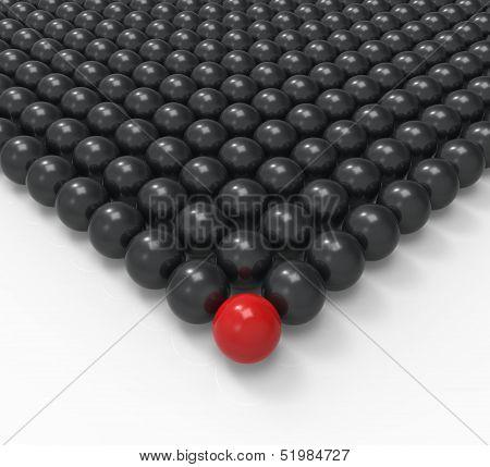 Leading Metallic Ball Showing Leadership Or Acheiving