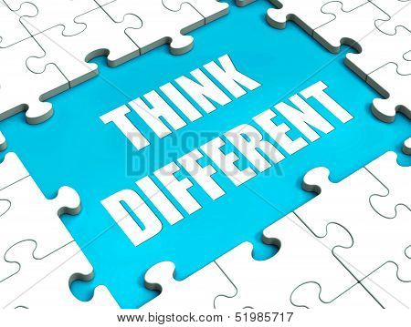 Think Different Puzzle Showing Thinking Outside the Box poster