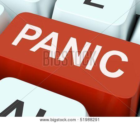 Panic Key Shows Panicky Terror Or Distress