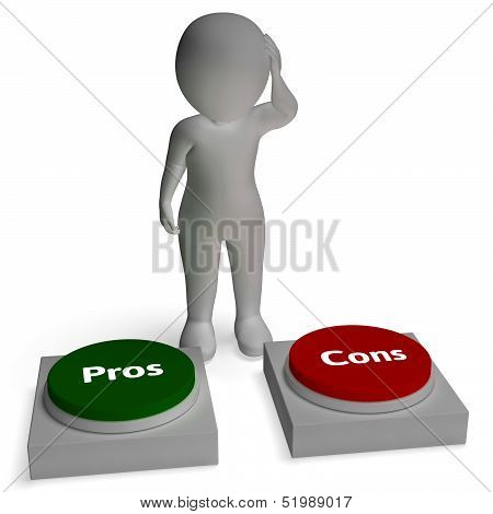 poster of Pros Cons Buttons Shows Pro Con Evaluation