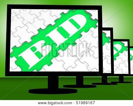 Bid On Monitors Shows Bidder Bidding Or Auction