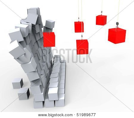 Blocks Knocking Down Wall Shows Demolition And Destruction