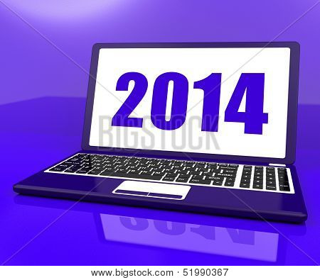 Two Thousand And Fourteen On Laptop Shows Year 2014