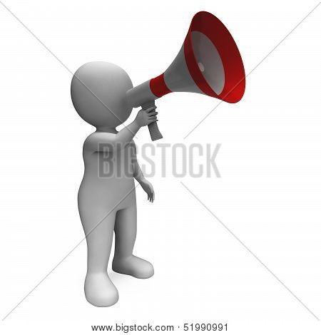Loud Hailer Character Shows Broadcasting Proclaim And Megaphone
