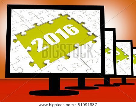 Two Thousand And Sixteen On Monitors Shows Year 2016 Resolution