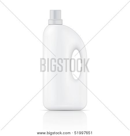 White plastic bottle for liquid laundry detergent, cleaning agent, bleach or fabric softener. Packaging collection. Vector illustration. poster