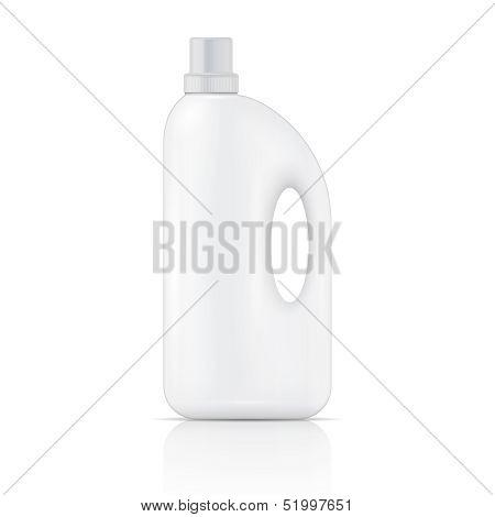 White liquid laundry detergent bottle.