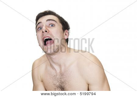 Young Man Being Scared
