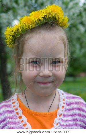 The Girl And A Wreath From Dandelions