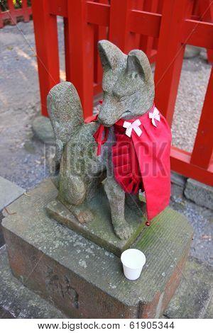 Fox Statue At Shinto Temple