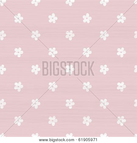 Seamless Doodle Flowers Pattern With Pink Fabric Texture